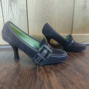 EUC Classified Brown Suede Buckle Loafer Heel
